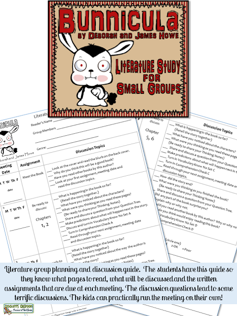 Bunnicula Literature Study, guided discussions for students to follow for each group meeting.