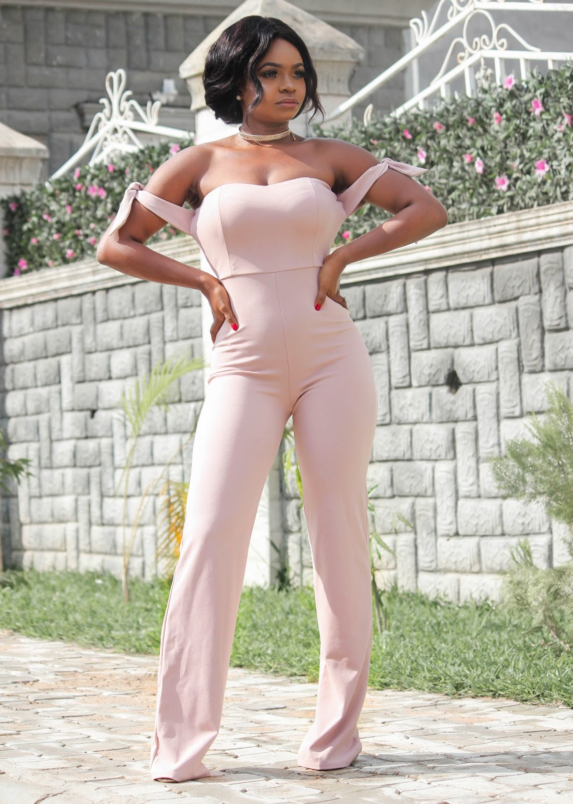 NUDE JUMPSUIT - Blushed Nude Off Shoulder Tie Knot Jumpsuit from Hot Miami Styles with Public Desire Sandals