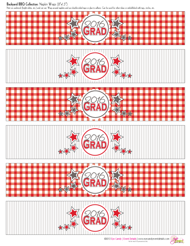 grad party napkin wraps, red and grey colors, gingham print, picnic BBQ