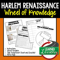 Harlem Renaissance,  Progressive Era, American History Activity, American History Interactive Notebook, American History Wheel of Knowledge