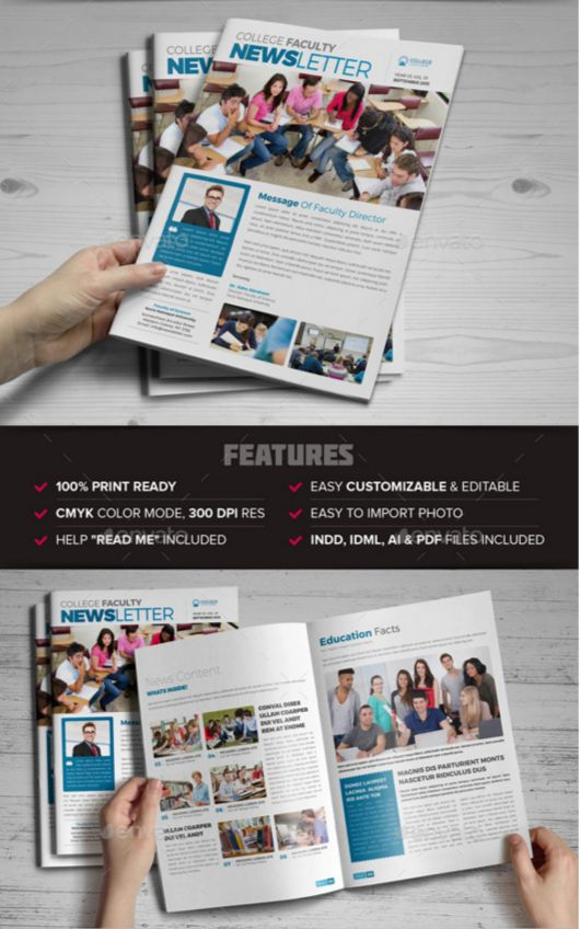 51. Student College Newsletter Indesign Template