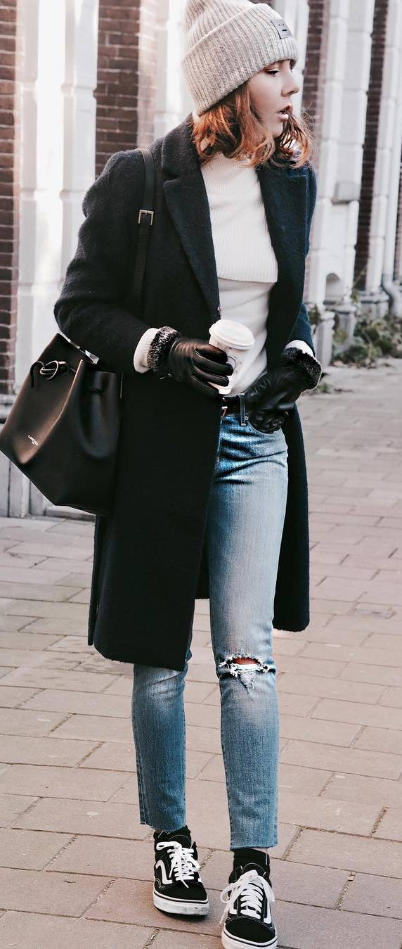 trendy fall outfit : coat + hat + top + bag + ripped jeans + sneakers