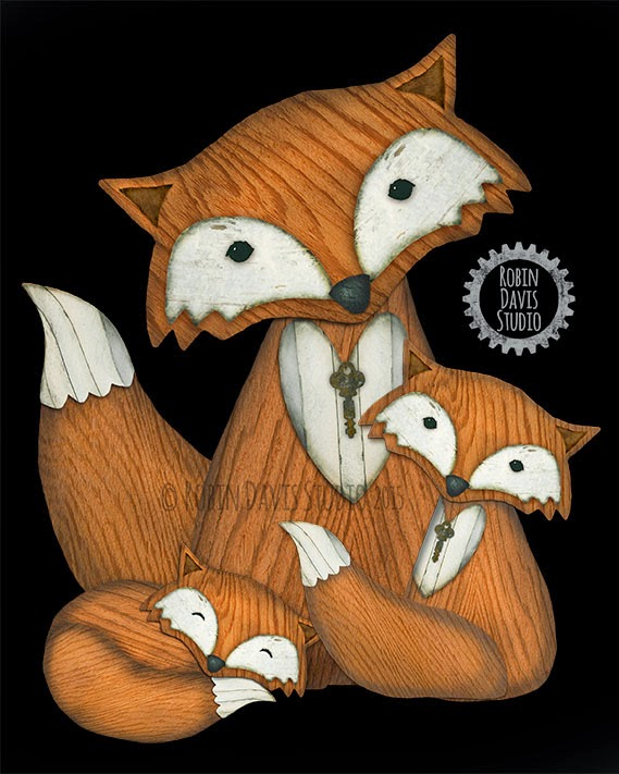 Mother Fox with her babies - Robin Davis Studio
