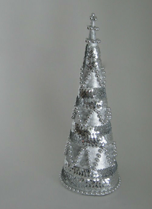 Chevron Beaded Christmas Cone Tree
