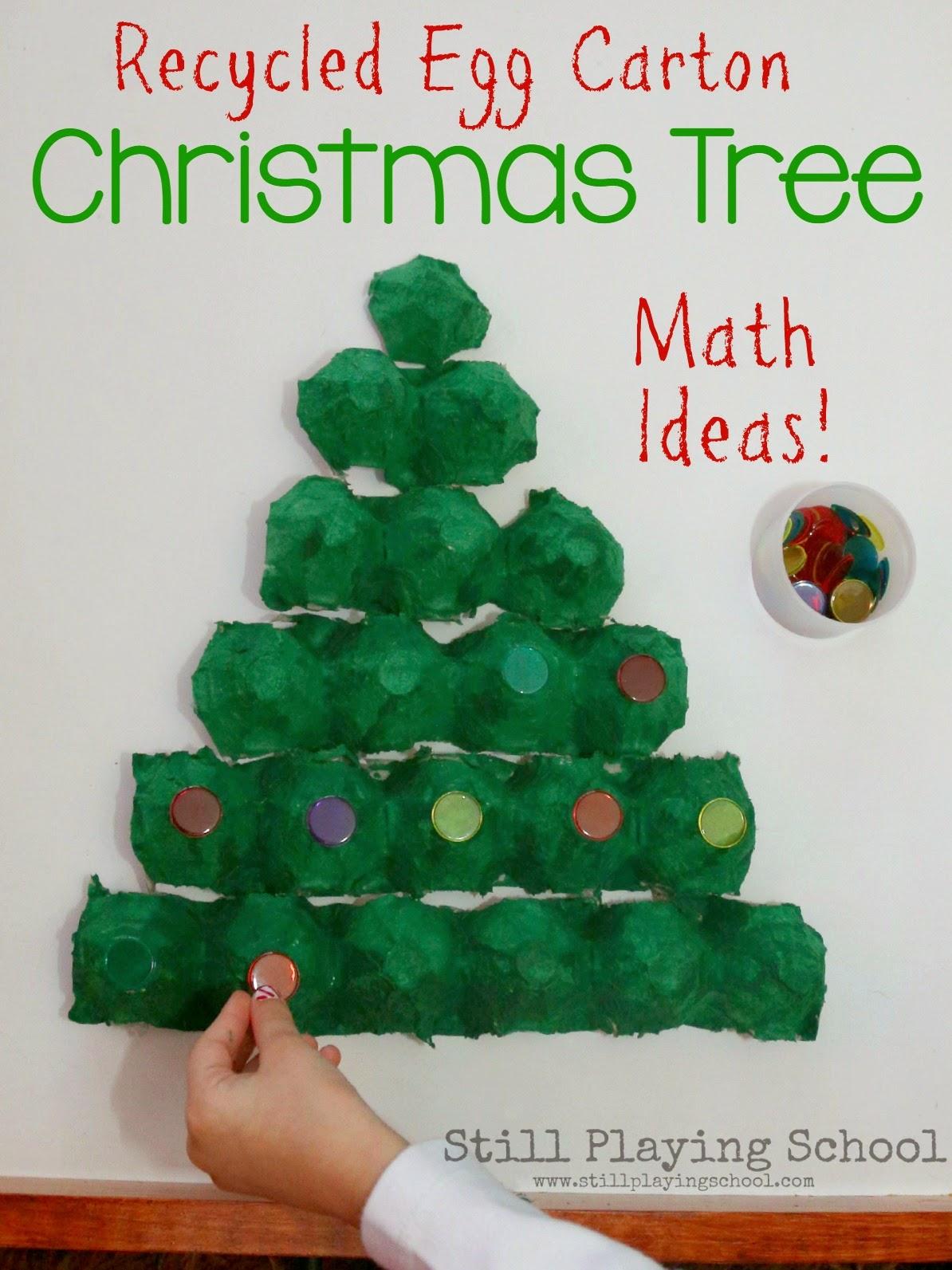 Egg Carton Christmas Tree Math Puzzle