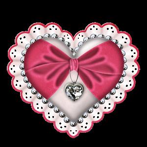 Clipart de Corazones con Lazo y Diamante.