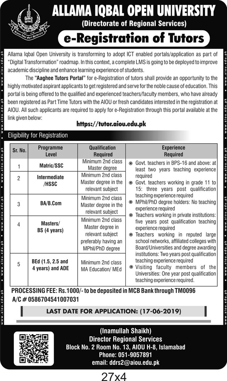 AIOU Tutors Jobs 2019 | 2200+ Vacancies | Allama Iqbal Open University AIOU Jobs