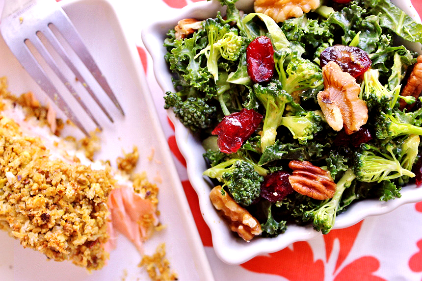 Pistachio Crusted Salmon and Broccoli Kale Superfood Salad- Explore the superfoods of the month, broccoli and salmon along with some healthy living tips from #SamsClubMag AD
