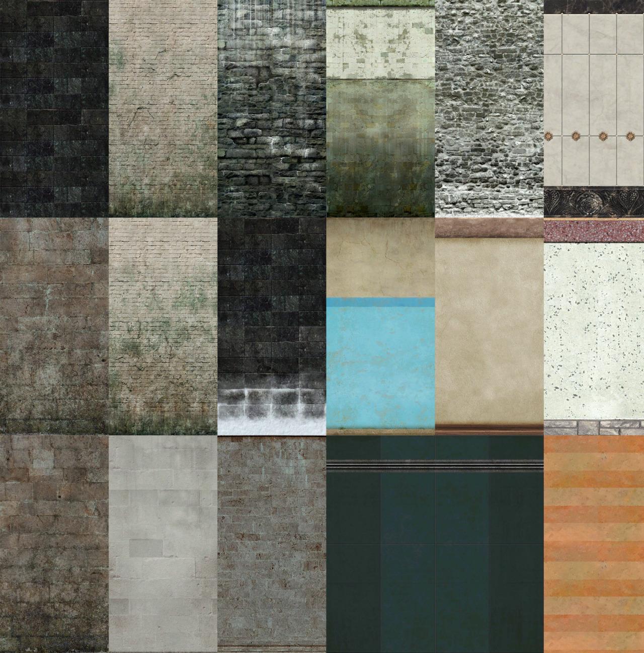 TS4 - Yuxi - Dream Fall Walls ~ Noir and Dark Sims Sims 1 Walls