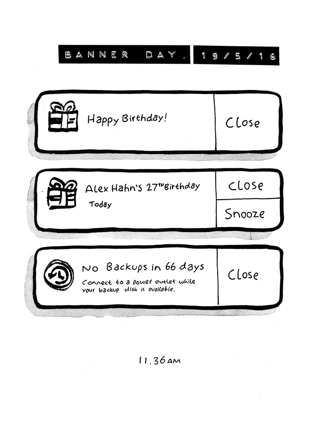 Comic about Alex's birthday described via the banner alerts on his apple macbook laptop