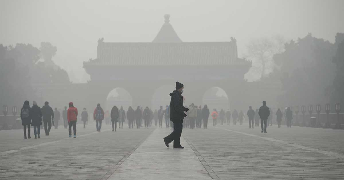 Smoky Fog at Temple of Heaven Park in Beijing