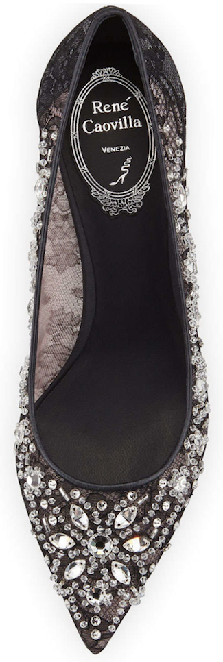 Rene Caovilla  Crystal-Embellished Lace Pump, Black