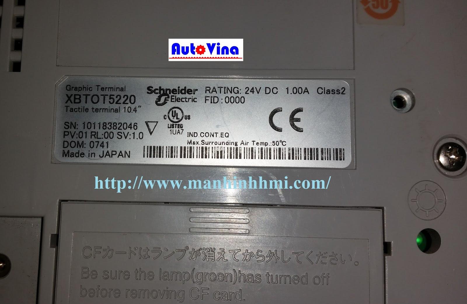 Mặt sau màn hình cảm ứng HMI Schneider XBTOT5220