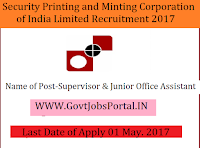 Security Printing and Minting Corporation of India Limited Recruitment 2017– 60 Supervisor & Junior Office Assistant