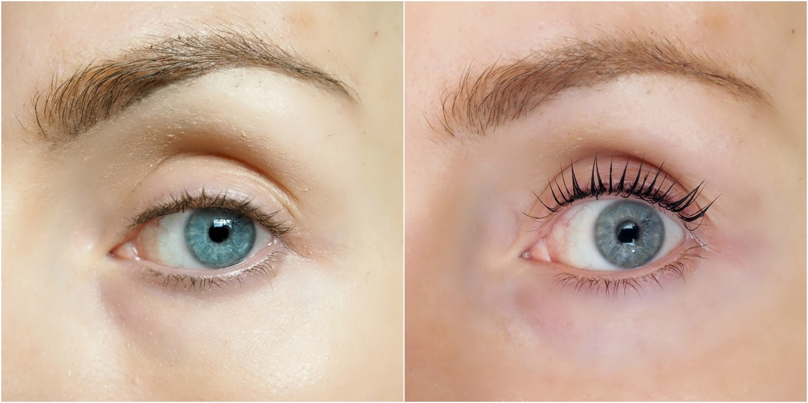 Before and after pics of LVL lash treatment at Jk One Beauty, Crawley