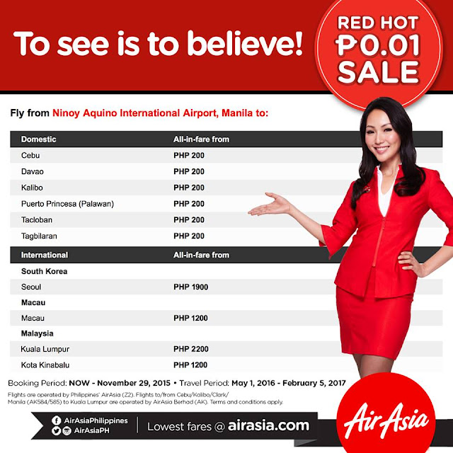 AirAsia Red Hot P0.01 Seat Sale