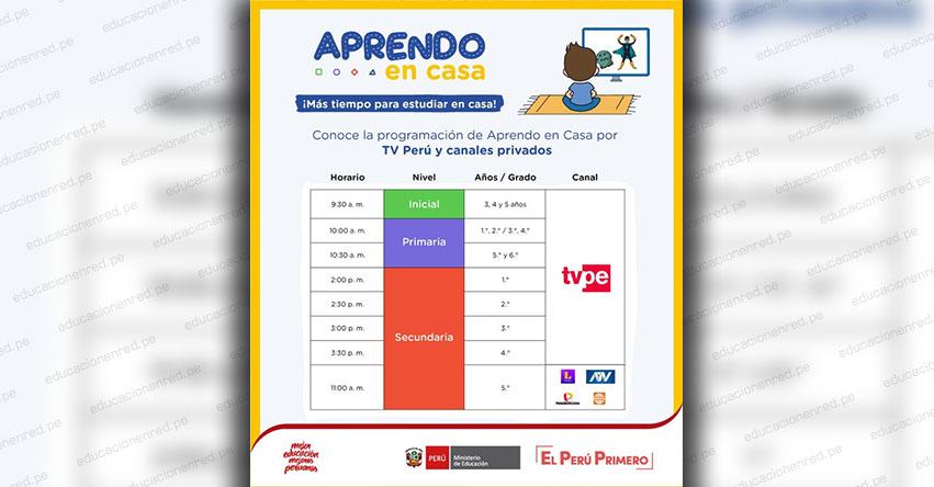 Conoce el nuevo horario Aprendo En Casa, Inicial, Primaria y Secundaria (TV Perú y Canales Privados) www.aprendoencasa.pe