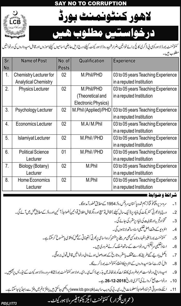Lecturers Jobs in CB Degree College Lahore Cantonment Board