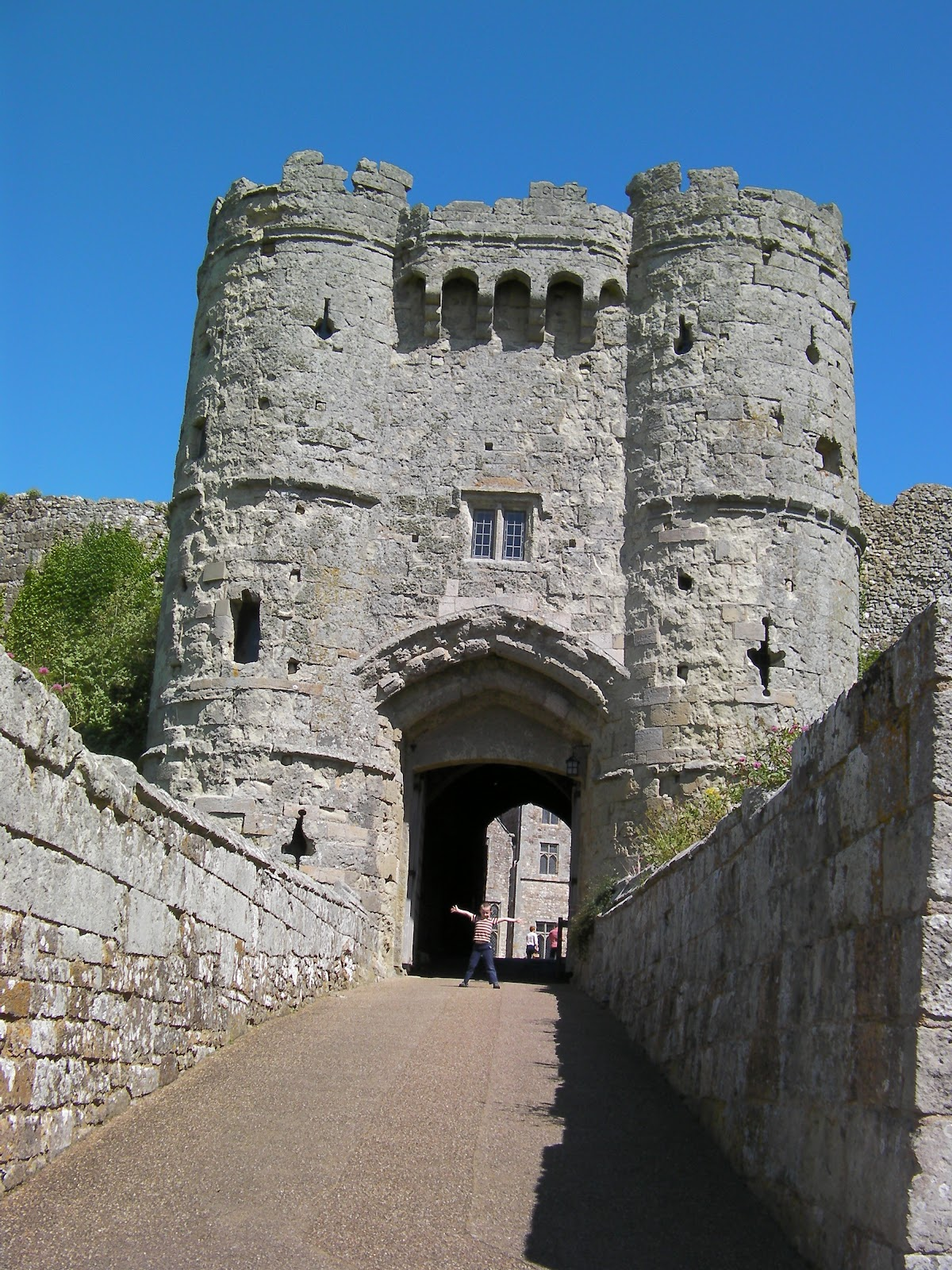 medieval castle walls with portcullis