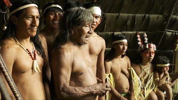 Bộ tộc Huaorani che tờ chim bằng lá cây 9