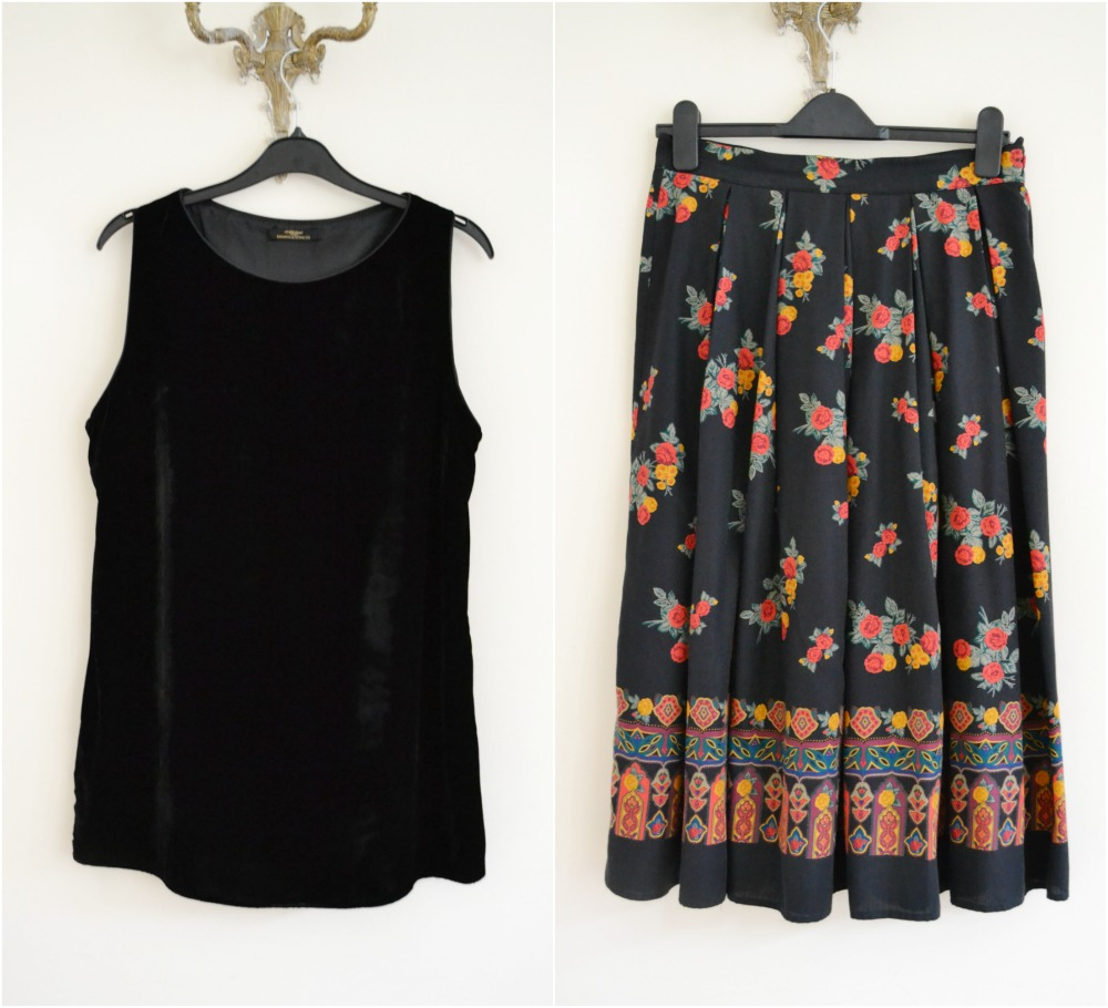 black velvet vintage charity shop florals M&S skirt top party