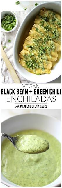 Black Edible Bean Greenish Chili Enchiladas Alongside Vegan JalapenoCream Sauce