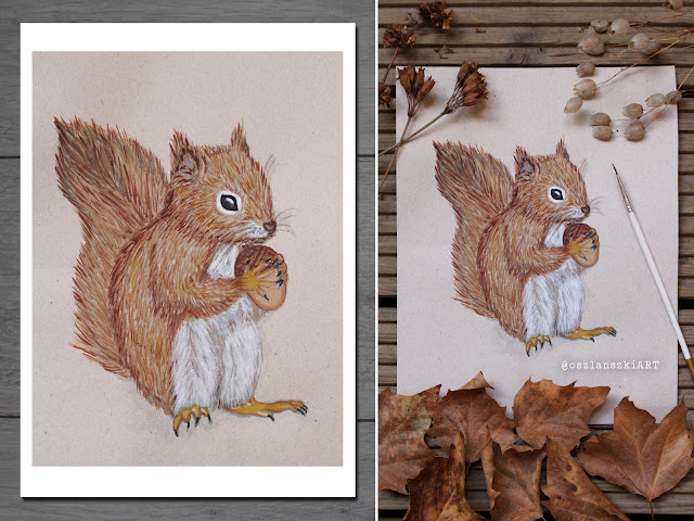 Squirrel Print, Watercolor Digital Wall Art, Woodland Forest Animal
