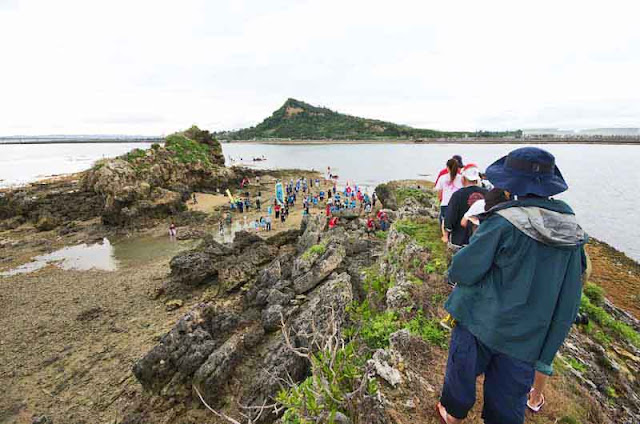 offshore, rock outcropping, Okinawa, procession, ocean