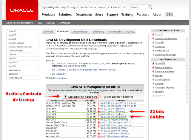 Página de download do Oracle Java SE Development Kit (JDK)