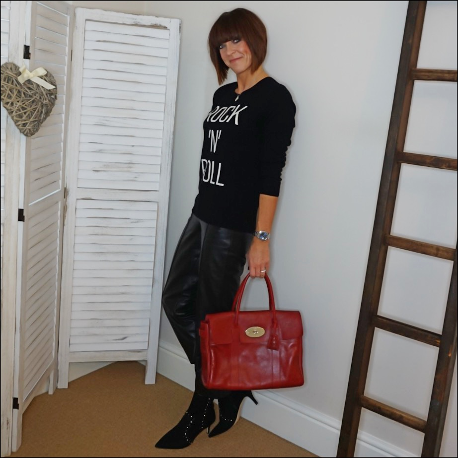 my midlife fashion, hush rock n roll cashmere jumper, marks and spencer straight leg leather trousers, carvela pose stud detail kitten heel ankle boots, mulberry bayswater tote