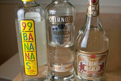 banana split cocktail martini, vanilla vodka, banana liqueur, creme de cacao