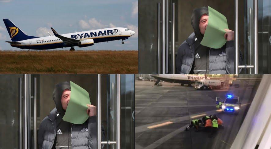 Incredibile: Perde il volo aereo Ryanair, lo insegue sulla pista di decollo e viene arrestato.