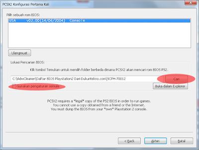 Buka PCSX2 1.4.0 yang telah diinstal tadi maka akan terlihat pengaturan dasar, Abaikan dan 'Next'/'Lanjut' terus sampai ke pengaturan BIOS.