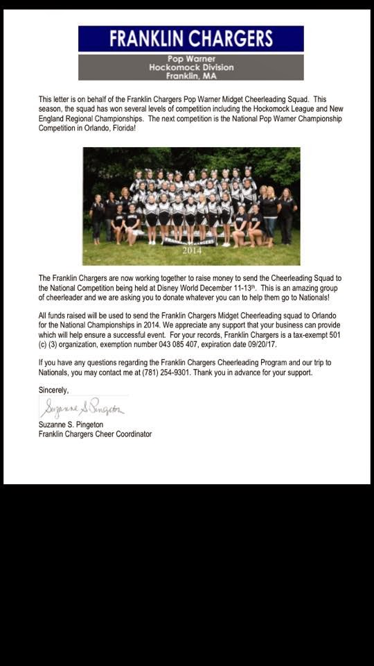 Franklin Chargers - letter to local businesses
