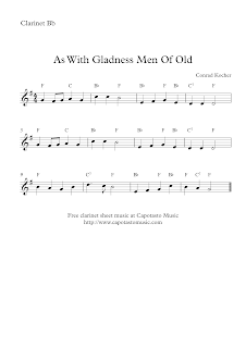 As With Gladness Men Of Old, clarinet sheet music