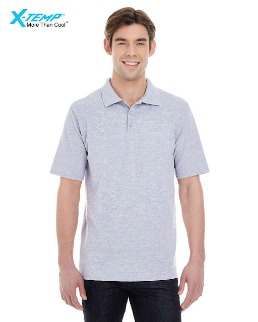 Hanes 055P Mens X-Temp Pique Short-Sleeve Polo- Light Steel – XL