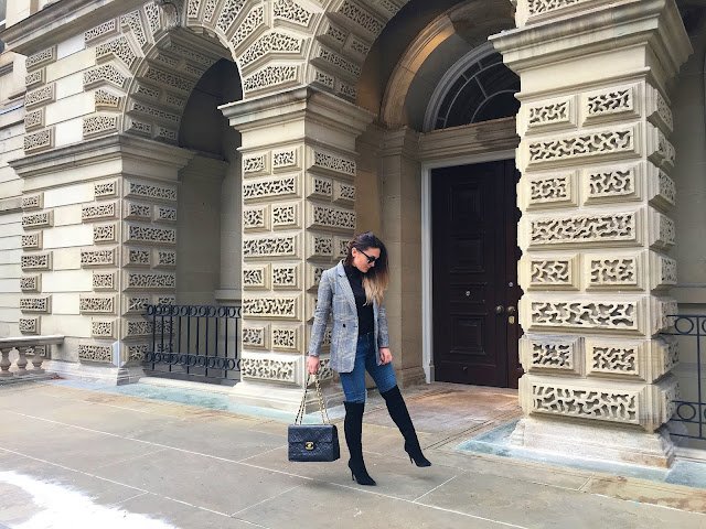 Toronto, Tourist in Toronto, fashioncanadians, toronto blogger, canadian fashion blogger, real outfit, real style, how to wear a blazer, hm blazer, check blazer, over the knee boots, OTK boots, visit toronto. mystyle, women style, osgoode hall