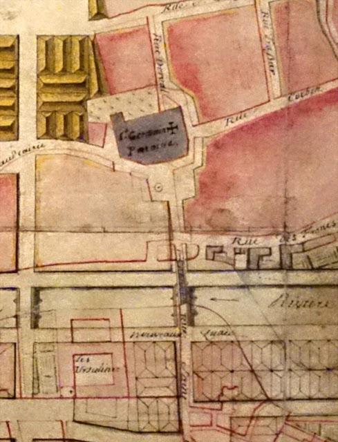 Plan de la ville de Rennes et du quartier Saint-Germain en 1722