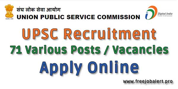 upsc recruitment 2018 for various posts apply online