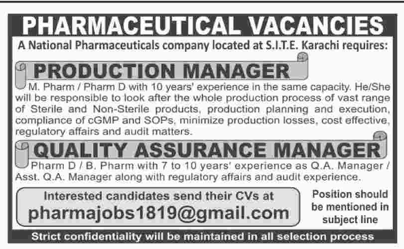 Pharmaceuticals Jobs in Karachi