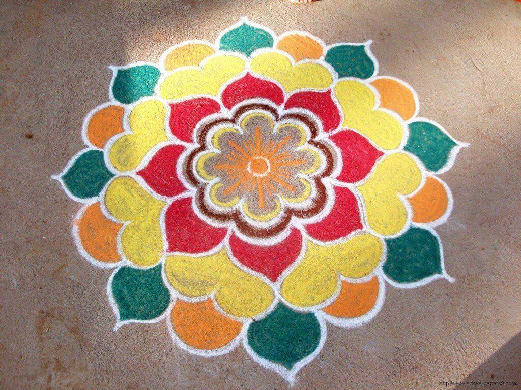 Easy *Best* Rangoli Designs for Diwali: Freehand 2017 Flowers ... for Flower Rangoli Designs For Diwali  56bof