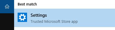 Windows 10 Best Match Settings