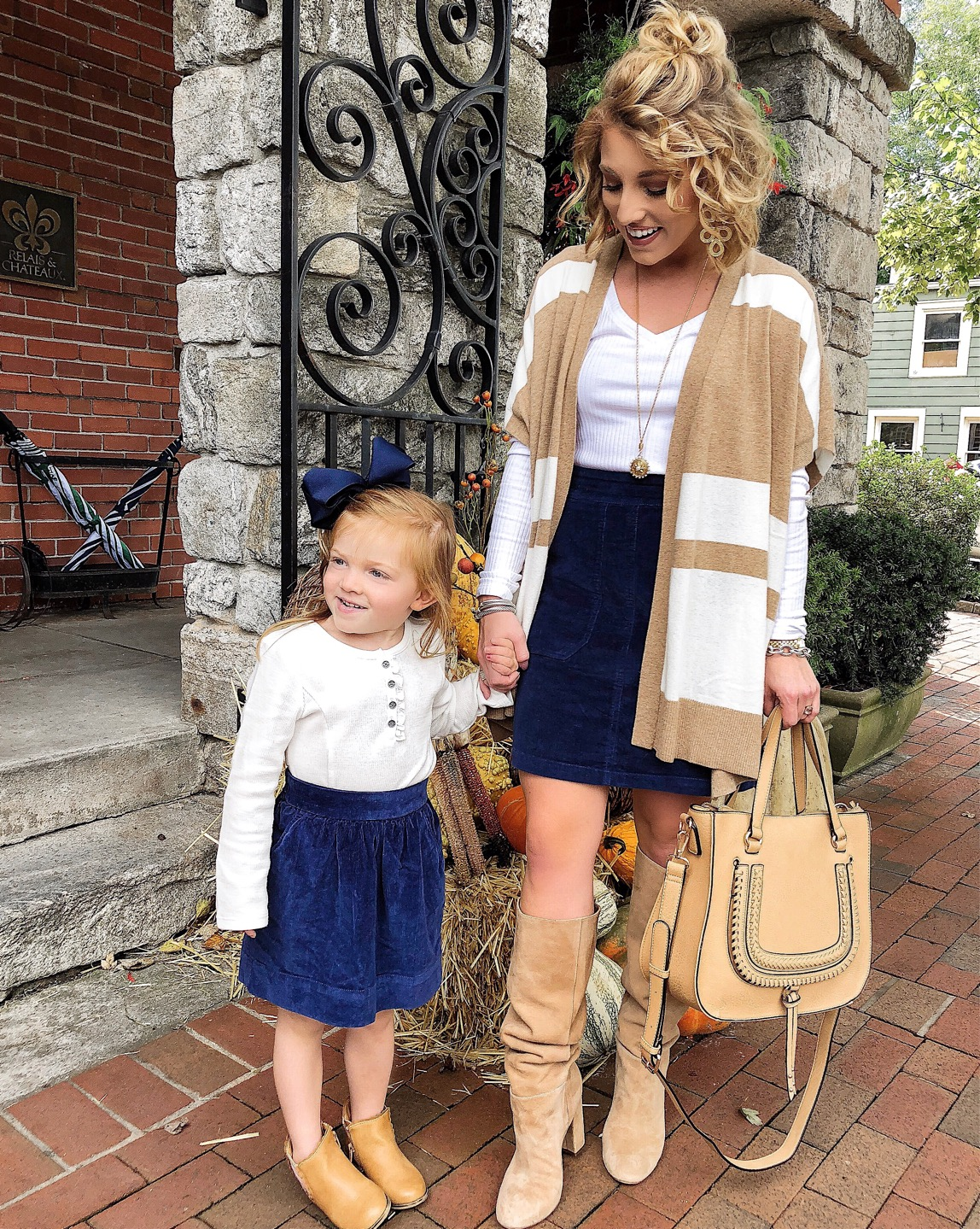 Mommy and Me Fall Style: Twinning in Corduroy Skirts - Something Delightful Blog
