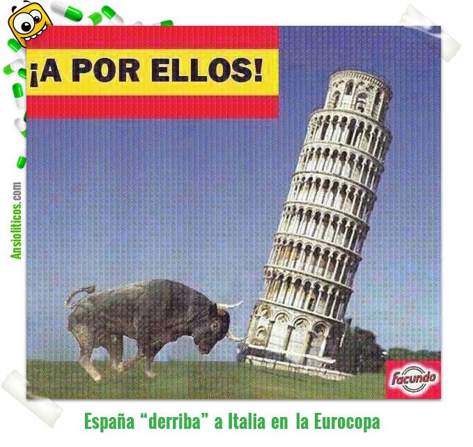 Chiste de la Eurocopa: España derriba Italia