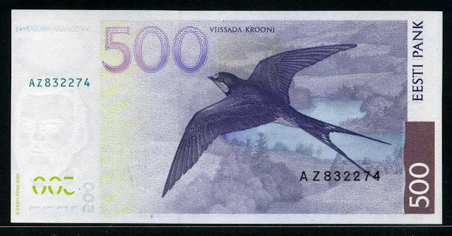 500 Estonian krooni kroon banknote bill