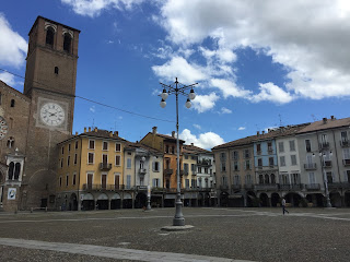 The beautiful Piazza della Vittoria in Lodi is famous  for the porticoes that line all four sides