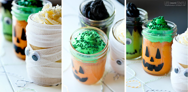 Halloween Themed Mason Jar Mini Cakes!! The cutest little cakes that kids will love!
