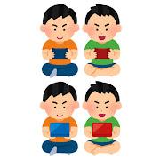 携帯ゲーム機で遊ぶ子供達のイラスト(男の子)