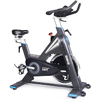 L Now Pro LD577 Indoor Cycle Trainer Commercial Spin Bike, with 44 lb heavy duty Star flywheel, belt drive, micro-adjustable tension, push-down brake, fully adjustable handlebars & seat, LCD monitor