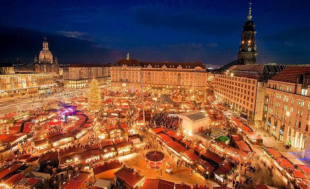 One of Germany's oldest markets, the Striezelmarkt or Striezel market dates back to 1434. Photo: Courtesy of German Christmas Market.Org.UK. Unauthorized use is prohibited.